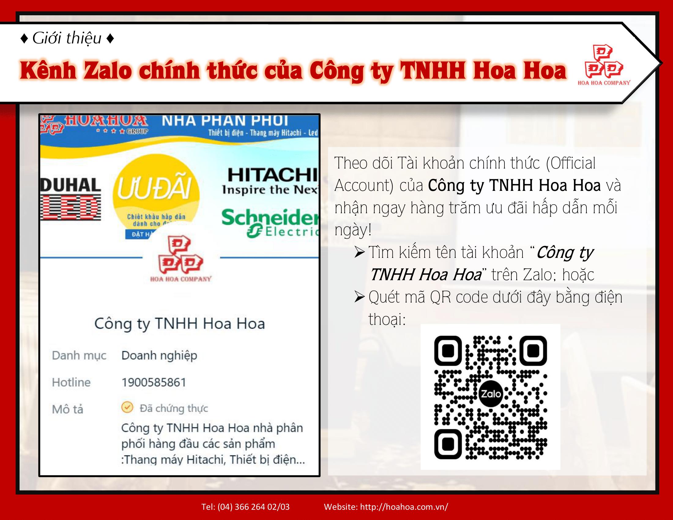 Kênh Zalo chính thức của công ty TNHH Hoa Hoa
